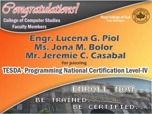 CCS Faculty Members Pass TESDA Programming NC Level IV