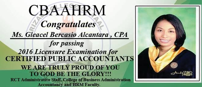 Rizal College of Taal Congratulates Ms. Gleacel Bercasio Alcantara C.P.A