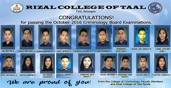 RCT Congratulates its new Licensed Criminologists
